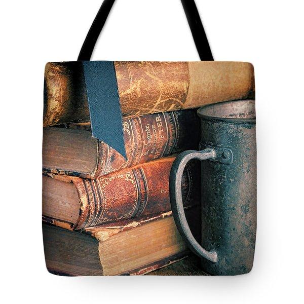 Stack Of Vintage Books Tote Bag by Jill Battaglia