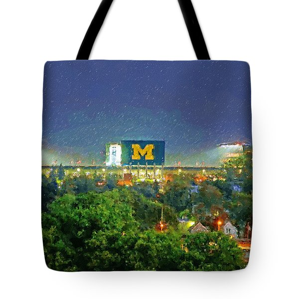 Stadium At Night Tote Bag by John Farr