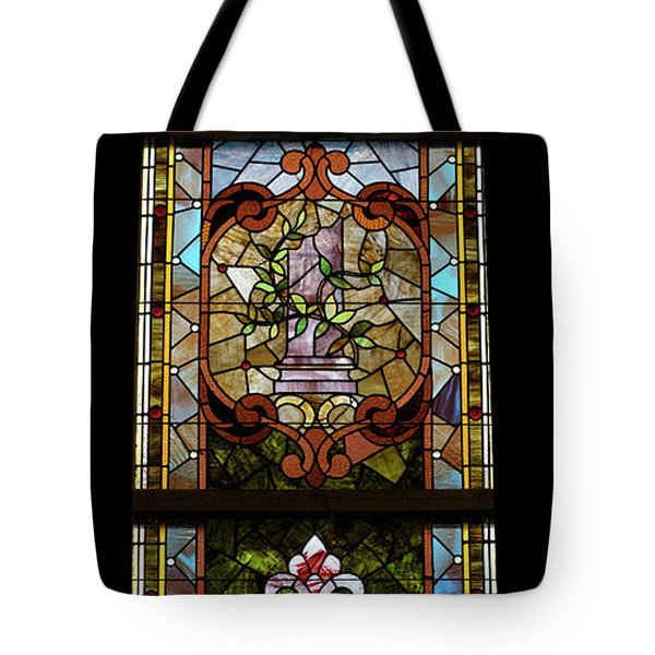 Stained Glass 3 Panel Vertical Composite 06 Tote Bag by Thomas Woolworth