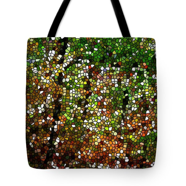 Stained Glass Autumn Colors In The Forest 1 Tote Bag by Lanjee Chee