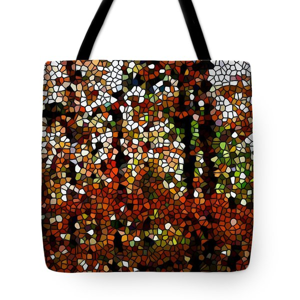 Stained Glass Autumn Colors In The Forest Tote Bag by Lanjee Chee