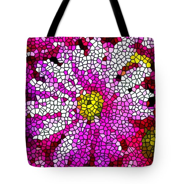 Stained Glass Pink Chrysanthemum Flower Tote Bag by Lanjee Chee