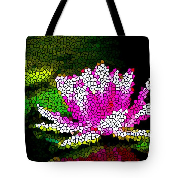Stained Glass Pink Lotus Flower   Tote Bag by Lanjee Chee