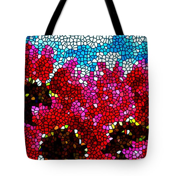 Stained Glass Red Sunflowers Tote Bag by Lanjee Chee