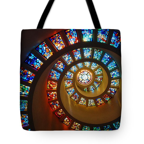 Stained Glass Spiral Tote Bag by James Kirkikis