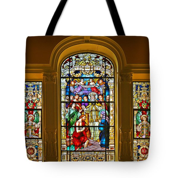 Stained Glass Window Cathedral St Augustine Tote Bag by Christine Till
