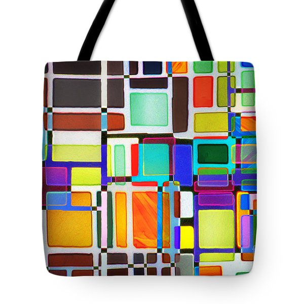 Stained Glass Window Multi-colored Abstract Tote Bag by Natalie Kinnear