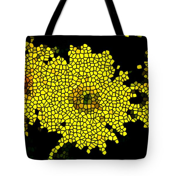 Stained Glass Yellow Chrysanthemum Flower Tote Bag by Lanjee Chee