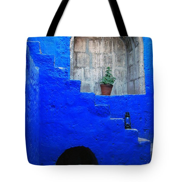 Staircase In Blue Courtyard Tote Bag by RicardMN Photography