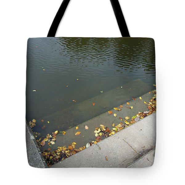 Stairs Leading Into Water Tote Bag by Matthias Hauser