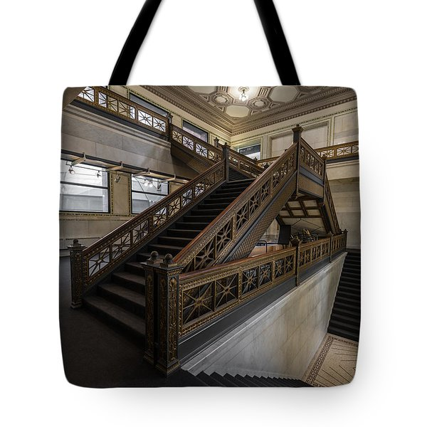 Stairwell Chicago Cultural Center Tote Bag by Steve Gadomski