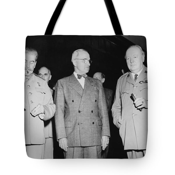 Stalin Truman And Churchill Tote Bag by War Is Hell Store