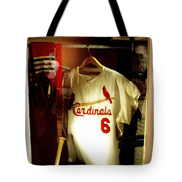 Stan The Man's Locker Stan Musial Tote Bag by Iconic Images Art Gallery David Pucciarelli