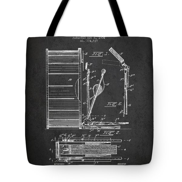 Stanton Bass Drum Patent Drawing From 1904 - Dark Tote Bag by Aged Pixel
