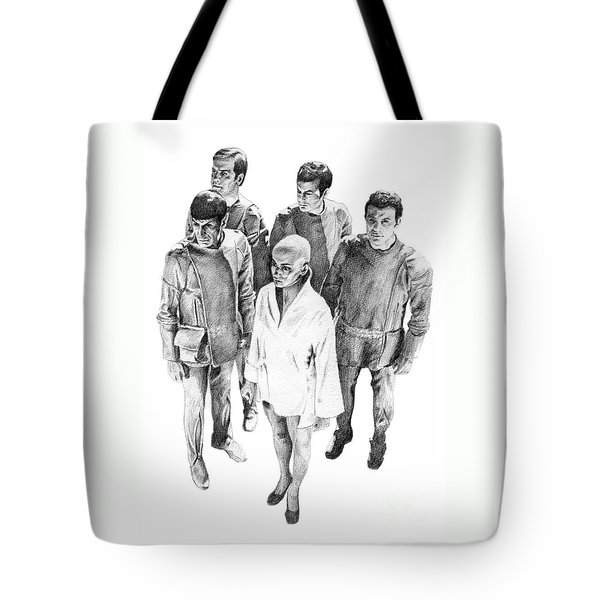 Star Trek - Meeting With V'ger Tote Bag by Liz Molnar