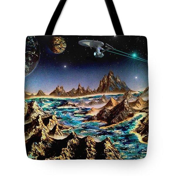 Star Trek - Orbiting Planet Tote Bag by Michael Rucker