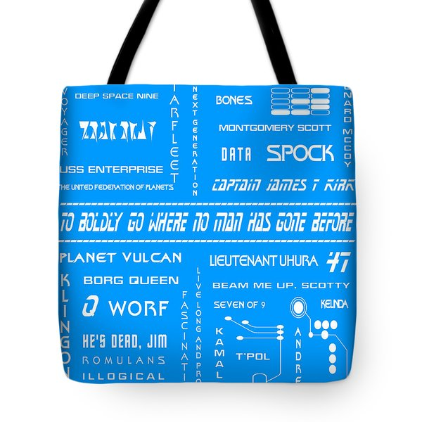 Star Trek Remembered In Blue Tote Bag by Nomad Art And  Design