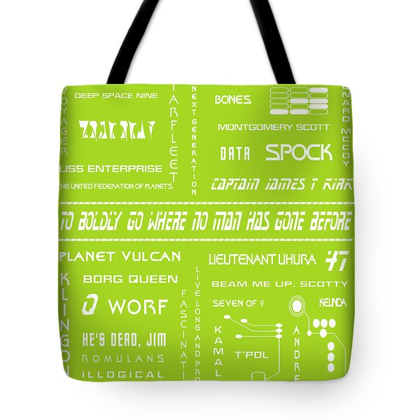 Star Trek Remembered in Green Tote Bag by Nomad Art And  Design
