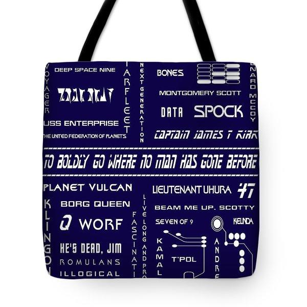 Star Trek Remembered In Navy Blue Tote Bag by Georgia Fowler