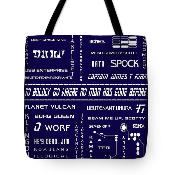 Star Trek Remembered in Navy Blue Tote Bag by Nomad Art And  Design