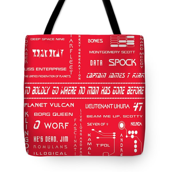 Star Trek Remembered in Red Tote Bag by Nomad Art And  Design