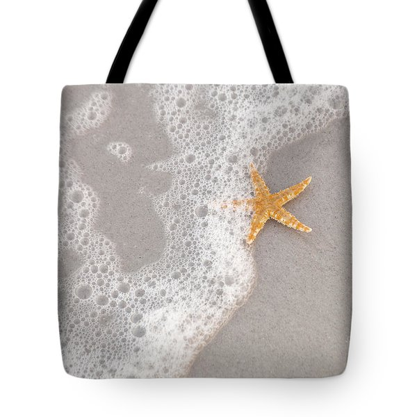 Starfish In The Surf Tote Bag by Diane Macdonald