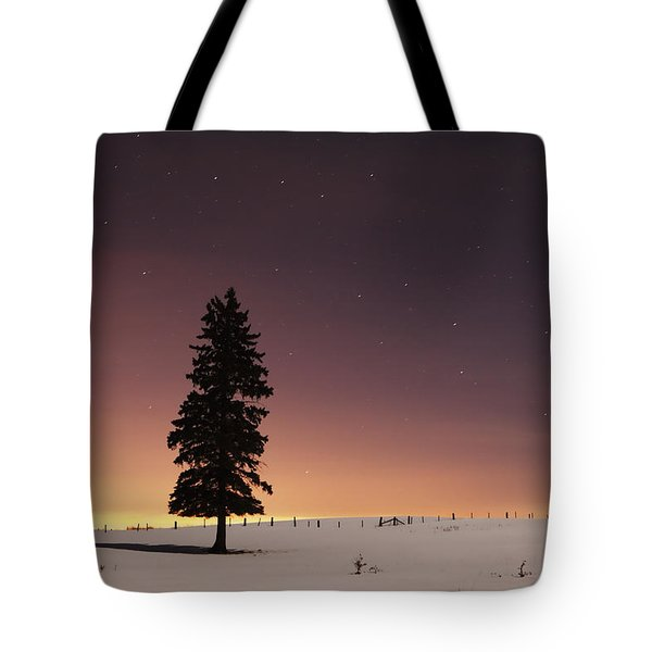 Stars In The Night Sky With Lone Tree Tote Bag by Susan Dykstra