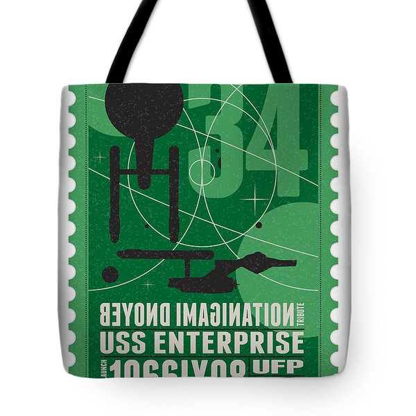 Starschips 34-poststamp - USS Enterprise Tote Bag by Chungkong Art