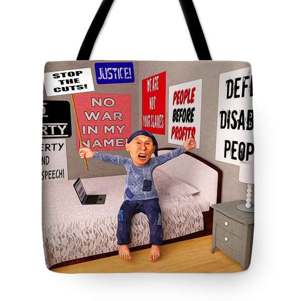 Start a Revolution From My Bed Tote Bag by Liam Liberty