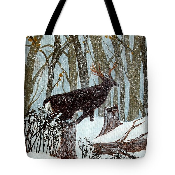 Startled Buck - White Tail Deer Tote Bag by Barbara Griffin