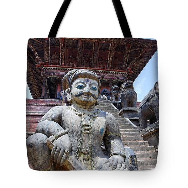 Statue at the Nyatapola Temple at Bhaktapur in Nepal Tote Bag by Robert Preston