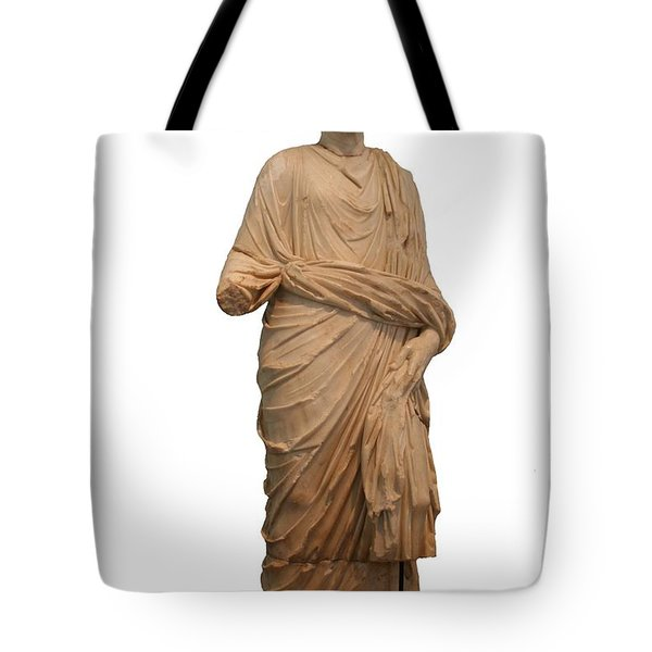 Statue Of A Roman Priest Wearing A Toga Tote Bag by Tracey Harrington-Simpson