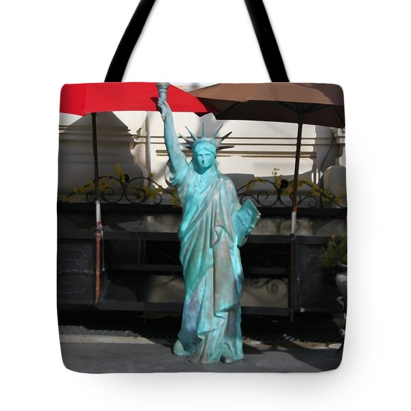 Statue Of Liberty At The Market Tote Bag by Dan Sproul