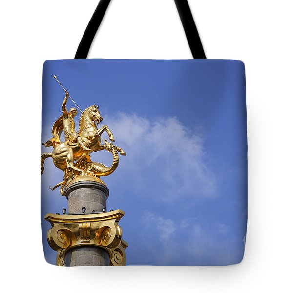 Statue Of St George And The Dragon In Tbilisi Tote Bag by Robert Preston
