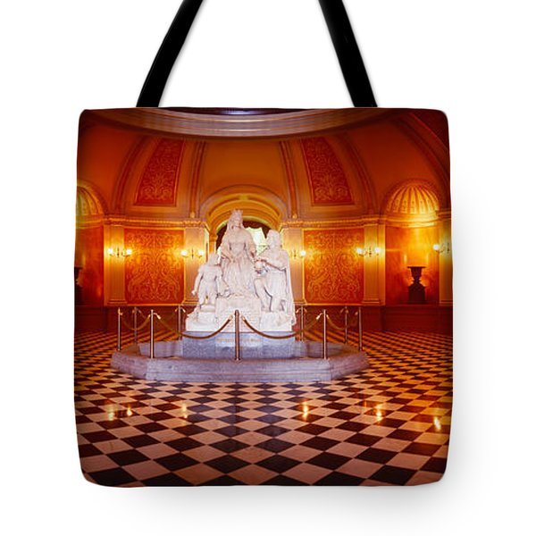 Statue Surrounded By A Railing Tote Bag by Panoramic Images