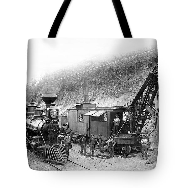 STEAM LOCOMOTIVE and STEAM SHOVEL 1882 Tote Bag by Daniel Hagerman