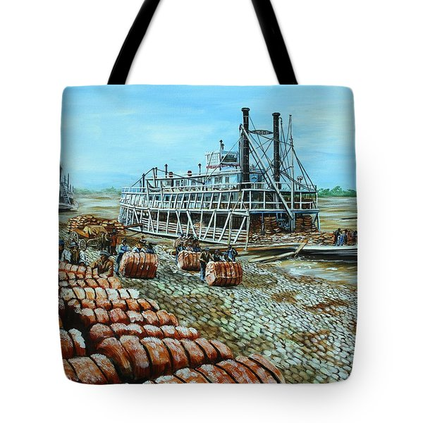 Steamboat Unloading Cotton In Memphis Tote Bag by Karl Wagner