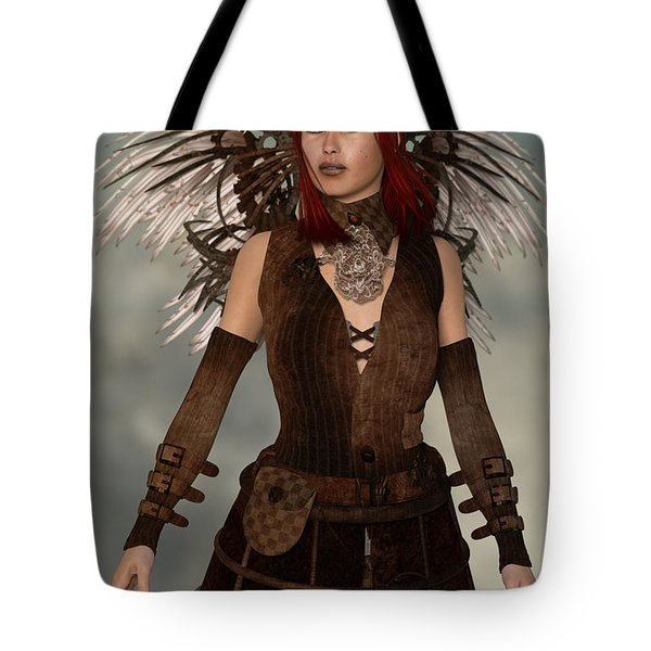 Steampunk Angel Tote Bag by Liam Liberty