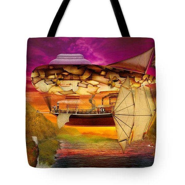 Steampunk - Blimp - Everlasting Wonder Tote Bag by Mike Savad