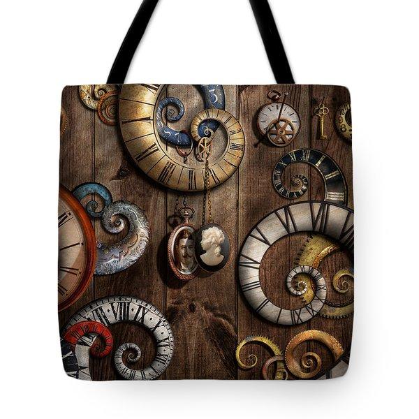 Steampunk - Clock - Time Machine Tote Bag by Mike Savad