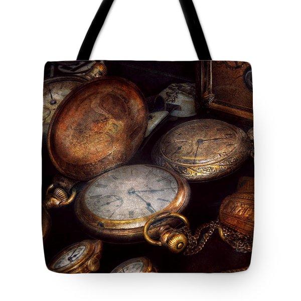 Steampunk - Clock - Time Worn Tote Bag by Mike Savad