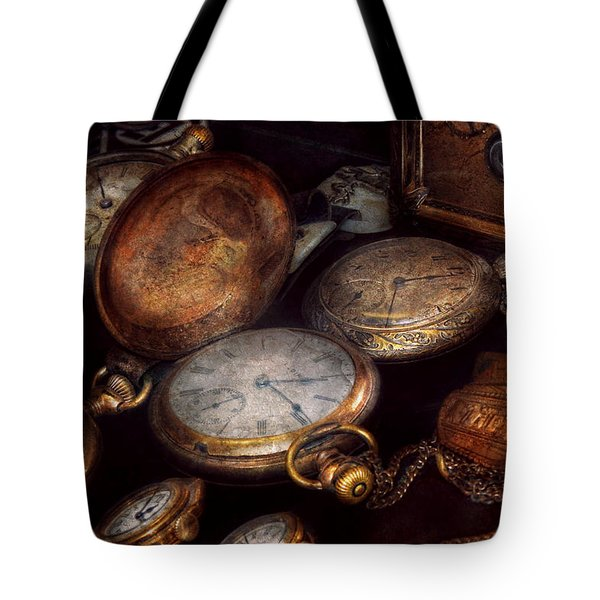 Steampunk - Clock - Time worn Tote Bag by Mike Savad