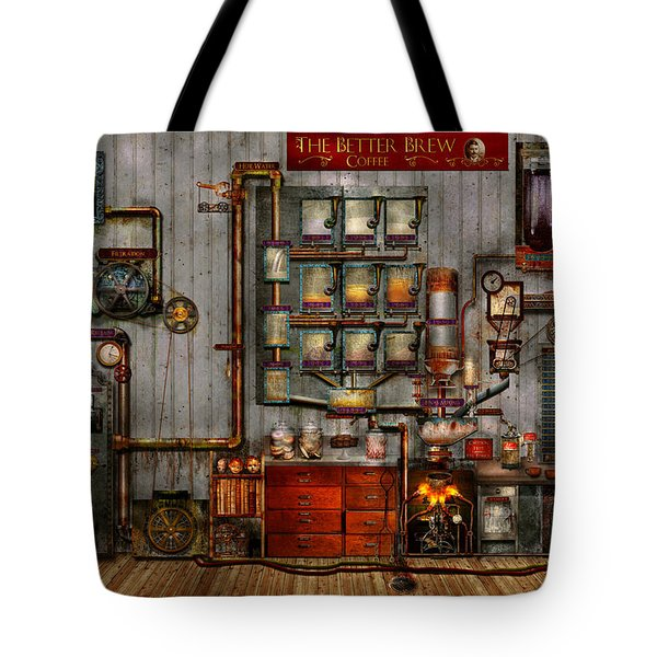 Steampunk - Coffee - The Company Coffee Maker Tote Bag by Mike Savad
