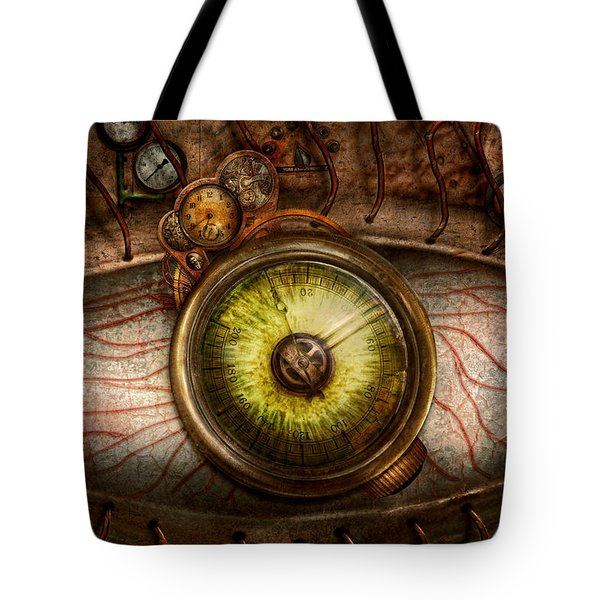 Steampunk - Creepy - Eye on technology  Tote Bag by Mike Savad