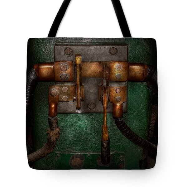 Steampunk - Electrical - Pull The Switch  Tote Bag by Mike Savad