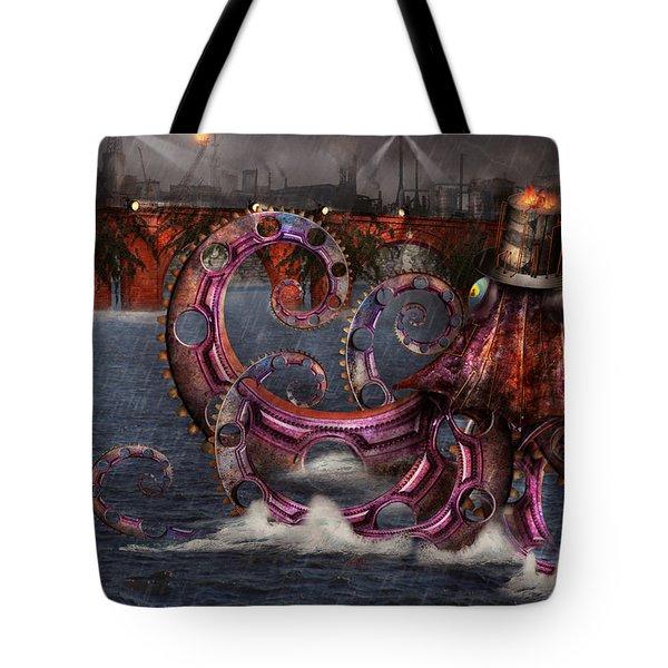 Steampunk - Enteroctopus Magnificus Roboticus Tote Bag by Mike Savad