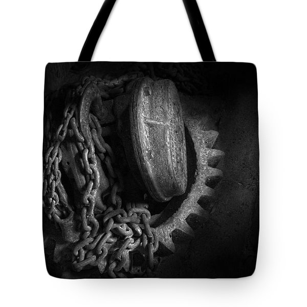 Steampunk - Gear - Hoist and chain Tote Bag by Mike Savad