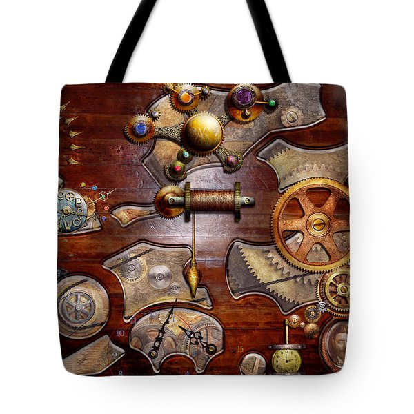 Steampunk - Gears - Reverse engineering Tote Bag by Mike Savad