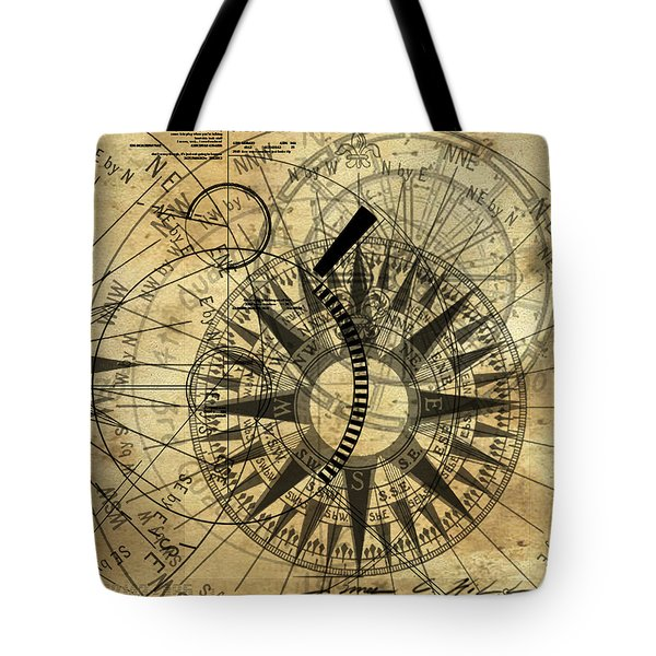 Steampunk Gold Compass Tote Bag by James Christopher Hill