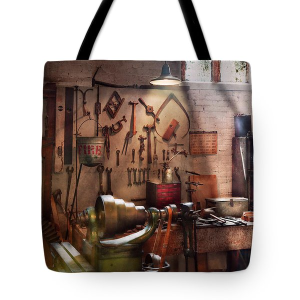 Steampunk - Machinist - The Inventors Workshop  Tote Bag by Mike Savad